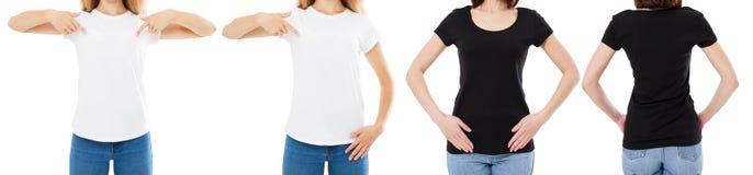 A mulher na camisa branca e preta de T isolou as opções do t-shirt da placa da imagem de Front And Rear Views Cropped, menina no  imagem de stock royalty free