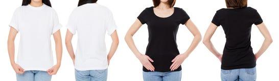 A mulher na camisa branca e preta de T isolou as opções do t-shirt da placa da imagem de Front And Rear Views Cropped, menina no  imagens de stock
