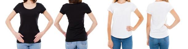 A mulher na camisa branca e preta de T isolou as opções do t-shirt da placa da imagem de Front And Rear Views Cropped, menina no  fotos de stock royalty free