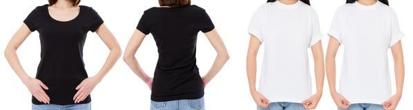 A mulher na camisa branca e preta de T isolou as opções do t-shirt da placa da imagem de Front And Rear Views Cropped, menina no  fotografia de stock royalty free