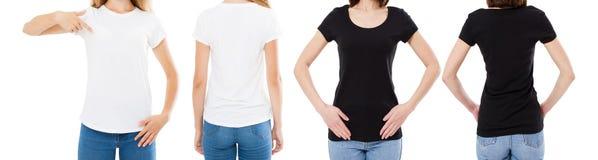 A mulher na camisa branca e preta de T isolou as opções do t-shirt da placa da imagem de Front And Rear Views Cropped, menina no  imagens de stock royalty free