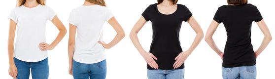A mulher na camisa branca e preta de T isolou as opções do t-shirt da placa da imagem de Front And Rear Views Cropped, menina no  foto de stock