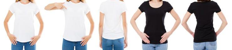 A mulher na camisa branca e preta de T isolou as opções do t-shirt da placa da imagem de Front And Rear Views Cropped, menina no  fotos de stock