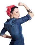 Mulher na camisa da sarja de Nimes Foto de Stock Royalty Free