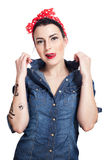 Mulher na camisa da sarja de Nimes Imagem de Stock Royalty Free