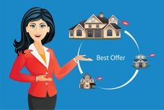 Mulher na casa de oferecimento do terno Abrigue a seleção, a melhor oferta, ilustração do vetor do conceito dos bens imobiliários Fotos de Stock Royalty Free