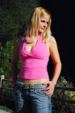 mulher na cor-de-rosa Fotografia de Stock Royalty Free