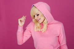Mulher na cor-de-rosa. Imagens de Stock Royalty Free