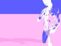 Mulher na cor-de-rosa e no azul ilustração do vetor