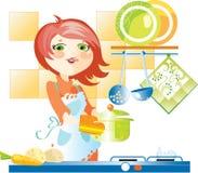 Mulher na cozinha ilustração do vetor