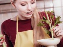 Mulher na cozinha que faz o suco vegetal do batido Imagens de Stock Royalty Free