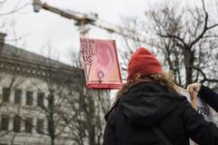 Mulher na demonstração do 8 de março Imagens de Stock