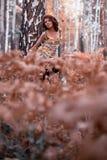 Mulher na floresta do outono fotografia de stock