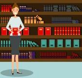 Mulher na frente da estante Vetor Ilustração lisa do estilo ilustração stock