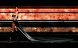 Mulher na frente do fundo alta tecnologia alaranjado Imagem de Stock Royalty Free