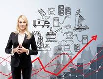 A mulher na frente dos ícones da produção de petróleo, lubrifica o efeito negativo Imagem de Stock Royalty Free