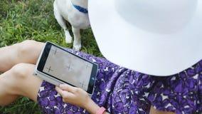 Mulher na grama com tabuleta e cão video estoque