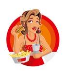 Mulher na ilustração da comida rápida ilustração royalty free