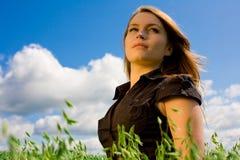 Mulher na luz solar Fotos de Stock Royalty Free