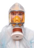 Mulher na máscara de gás fotografia de stock