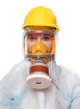 Mulher na máscara de gás. foto de stock royalty free