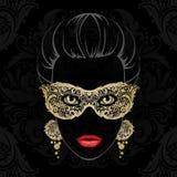 Mulher na máscara do carnaval Foto de Stock