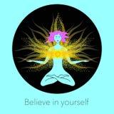 Mulher na meditação Ilustração criativa Imagens de Stock Royalty Free