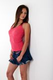 Mulher na mini saia Imagem de Stock Royalty Free