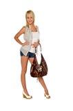 Mulher na moda com bolsa Fotos de Stock Royalty Free
