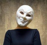 Mulher na máscara branca. Conceito do horror Imagens de Stock Royalty Free