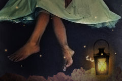Mulher na noite no jardim Imagens de Stock