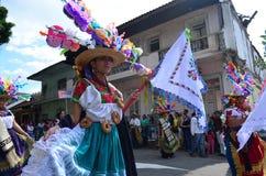 Mulher na parada do artesão em Uruapan fotos de stock royalty free