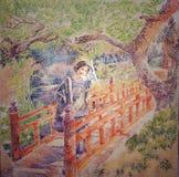 Mulher na pintura acrílica da tinta vermelha japonesa da ponte ilustração royalty free