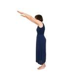 Mulher na ponta do pé, alcançando Isolado no branco Fotografia de Stock Royalty Free