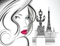Mulher na ponte de Alexander III em Paris ilustração royalty free