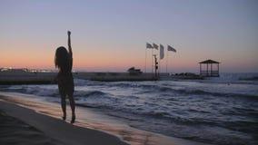 Mulher na praia video estoque