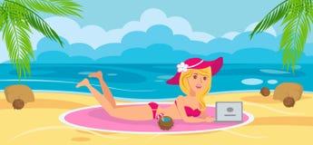 Mulher na praia com portátil Ilustração do vetor ilustração do vetor