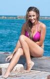 Mulher na praia em Florida imagens de stock