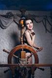 Mulher na sala de sal em um maiô Imagens de Stock