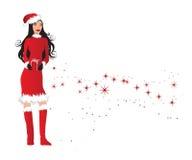 Mulher na terra arrendada do equipamento de Santa   ilustração royalty free