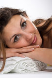Mulher na toalha Imagem de Stock