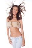 mulher nas calças de brim e na pele Fotos de Stock Royalty Free