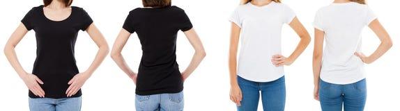Mulher nas opções brancas e pretas do t-shirt da placa da imagem de Front And Rear Views Cropped da camisa de T, menina no grupo  fotos de stock