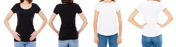 Mulher nas opções brancas e pretas do t-shirt da placa da imagem de Front And Rear Views Cropped da camisa de T, menina no grupo  imagem de stock royalty free