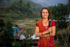 Mulher Nepali que colhe, Doru, vale de Huwas, Nepal fotos de stock royalty free