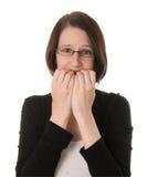 Mulher nervosa no branco Fotografia de Stock Royalty Free