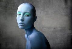Mulher no azul Imagem de Stock Royalty Free