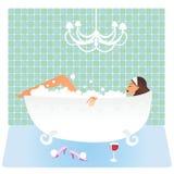 Mulher no banho ilustração royalty free