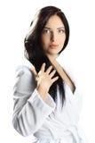 Mulher no bathrobe Imagens de Stock Royalty Free