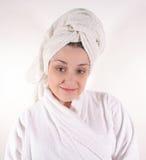 Mulher no Bathrobe #2 Fotografia de Stock Royalty Free